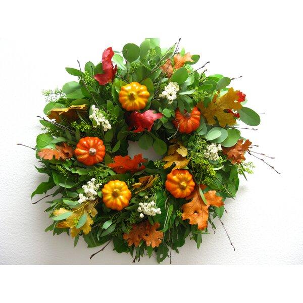 18 Faux Pumpkin Wreath by From the Garden