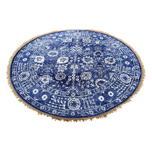 One-of-a-Kind Brackenburgh Tabriz Oriental Hand-Knotted Silk Blue Area Rug by World Menagerie