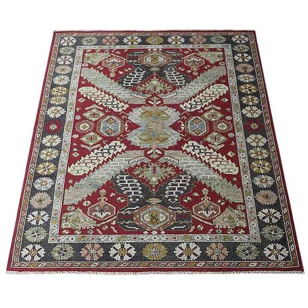 Rackers Sumak Hand-Knotted Wool Red/Charcoal Area Rug by World Menagerie