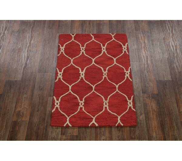 Senna Trellis Oushak Oriental Hand-Tufted Wool Red/Burgundy Area Rug by Alcott Hill