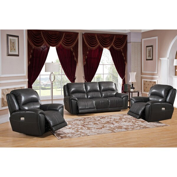 Mikel Reclining 3 Piece Leather Living Room Set by Red Barrel Studio Red Barrel Studio