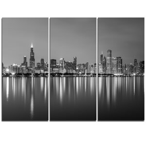 Chicago Skyline at Night Black and White - 3 Piece Graphic Art on Wrapped Canvas Set by Design Art