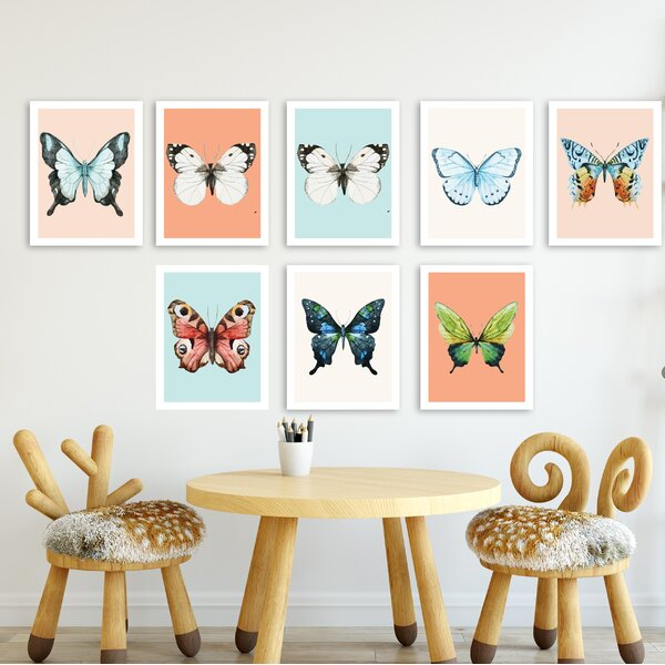 Saephan 8 Piece Butterfly Paper Print Set by Harriet Bee