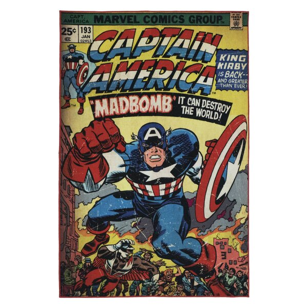 One-of-a-Kind Marvel Captain America Red/Blue Area Rug by Kid's Company