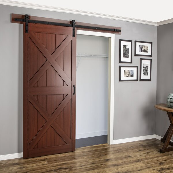 Continental MDF Engineered Wood 1 Panel Cherry Laminate Interior Barn Door by Erias Home Designs