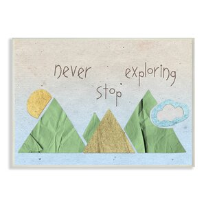 'Never Stop Exploring Mountain Collage Blue' Graphic Art Print by Harriet Bee