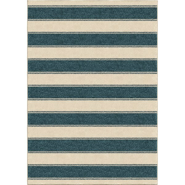 Portwood Bold Stripe Admiral Blue/Beige Indoor/Outdoor Area Rug by Beachcrest Home