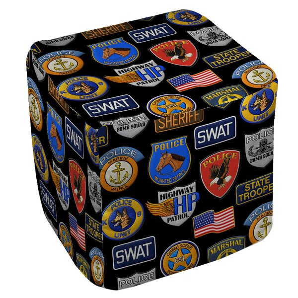 Police Patches Pouf By Manual Woodworkers & Weavers Discount