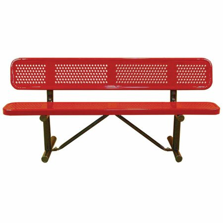 Standard Perforated In Ground Metal Park Bench by Leisure Craft