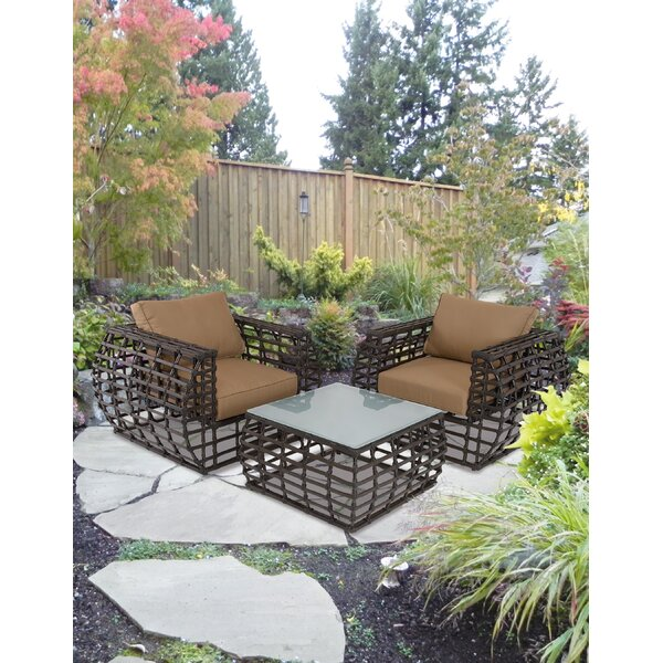 Tompkins 3 Piece Rattan Sofa Set with Cushions by Bayou Breeze