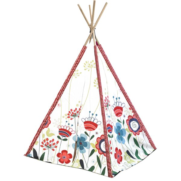 Kids Floral Play Teepee with Carrying Bag by Herit