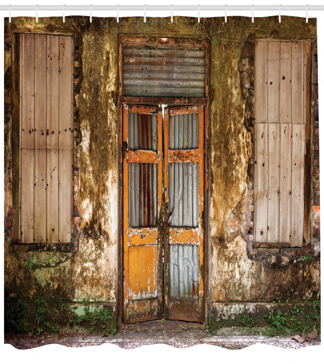 Rustic Home Damaged Shabby House With Boarded Up Rusty Doors And Mold Windows Home Decor Shower Curtain Set