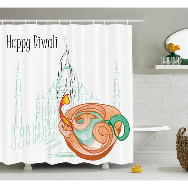 Palmerai Diwali Abstract Palace Taj Mahal Like Sketch With Modern Festive Fire Candles Print Shower Curtain by World Menagerie