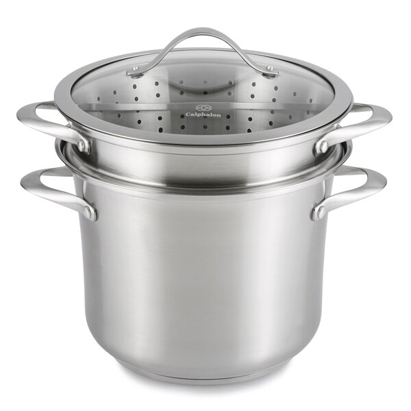 Contemporary Stainless Steel 8 Qt. Multi-Pot with Lid by Calphalon