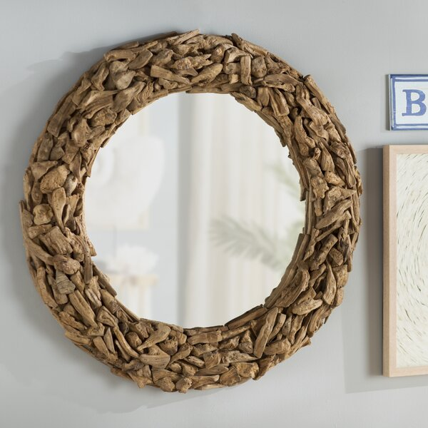 Round Brown Wooden Wall Mirror by Beachcrest Home