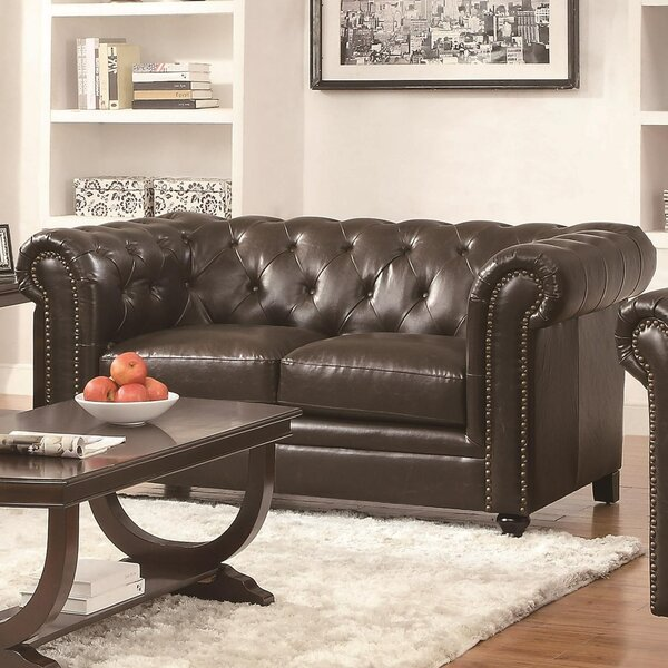 Wharton Leather Loveseat by Canora Grey