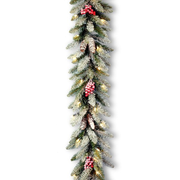 6 Foot Snow-Splashed Pre-Lit Garland by Andover Mills
