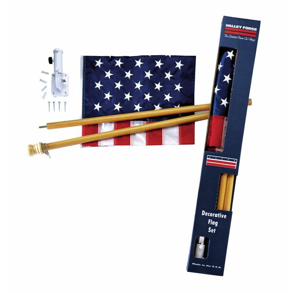 American 2-Sided 2.5 x 4 ft. Flag Set by Valley Forge Flag