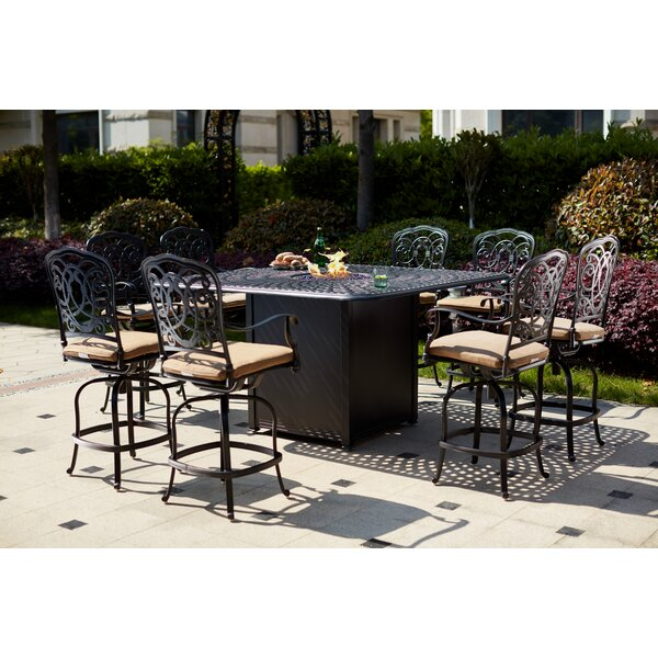 Batty 9 Piece Bar Height Dining Set with Cushions and Firepit by Fleur De Lis Living