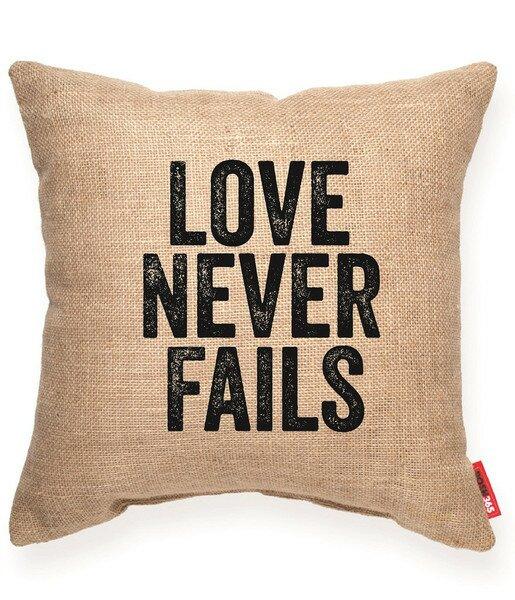 Bierman Love Never Fails Decorative Burlap Throw Pillow by Ivy Bronx
