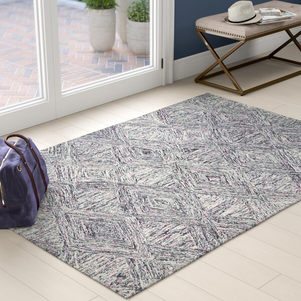 Divernon Hand-Woven Wool Charcoal/Purple Area Rug by Ivy Bronx