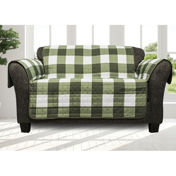 Printed Plaid Box Cushion Loveseat Slipcover By August Grove