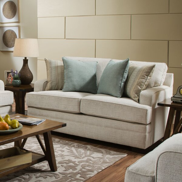 Simmons Upholstery Hattiesburg Parchment Loveseat by Three Posts