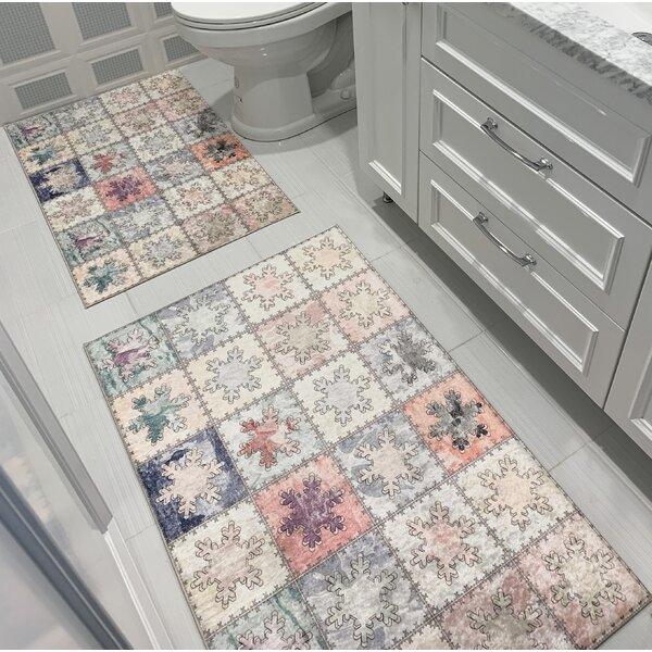 Wedgeworth Printed Design Vibrant and Soft Rectangle Non-Slip Geometric 2 piece Bath Rug Set