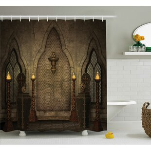 Best Deals Gothic House Fantasy Scene With Old Wooden Torch and Skull Candlestick Shower Curtain By Ambesonne