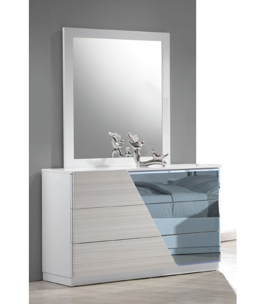 Nikhat 3 Drawer Dresser with Mirror by Orren Ellis