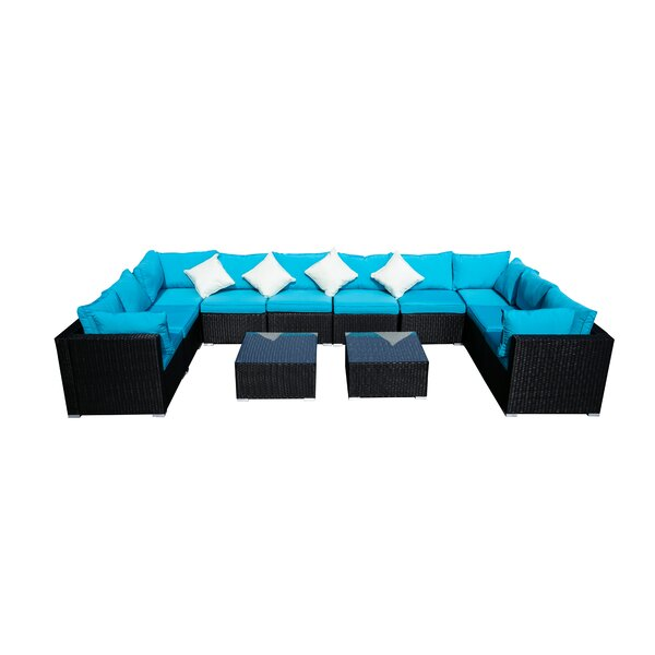 Derlyum 12 Piece Rattan Sectional Seating Group with Cushions by Red Barrel Studio