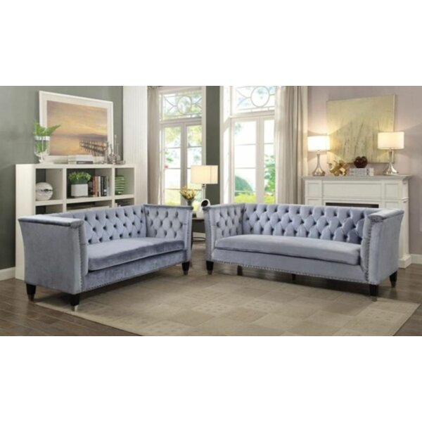 Blue-Gray Velvet Loveseat By Everly Quinn