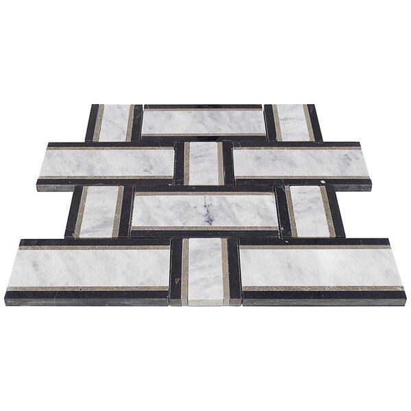 Mingle Lagos Interlocking Random Sized Marble Mosaic Tile in Gray by Splashback Tile