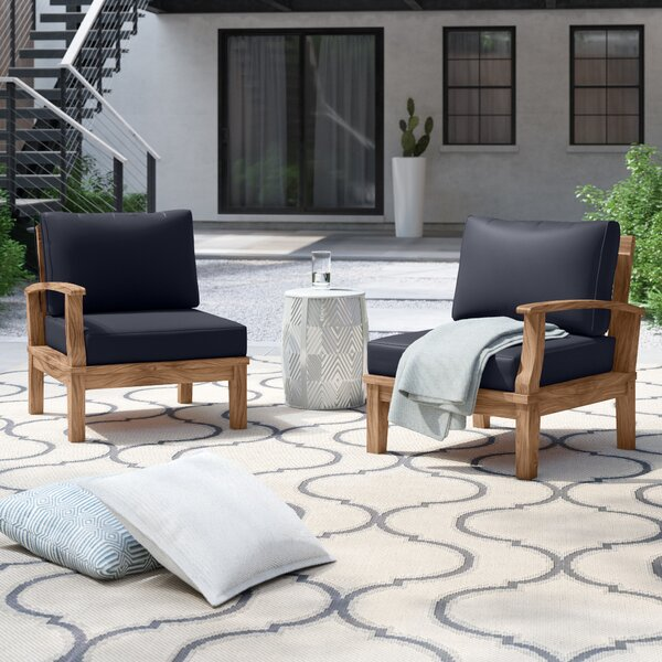 Anthony Outdoor Teak Patio Chair Set with Cushions by Foundstone