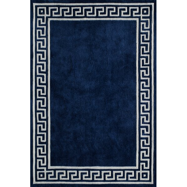 Chantemelle Hand-Tufted Navy/White Area Rug by Mercer41
