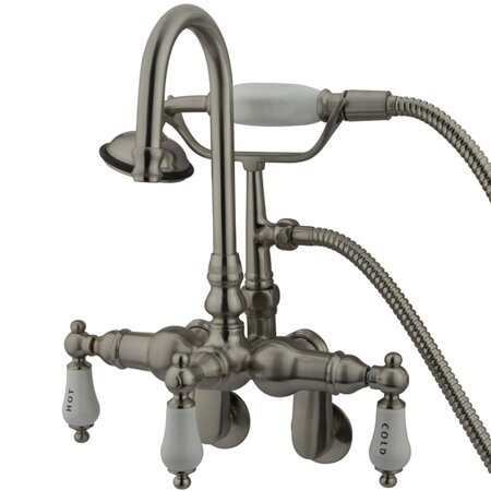 Hot Springs Triple Handle Wall Mount Clawfoot Tub Faucet with Handshower by Elements of Design