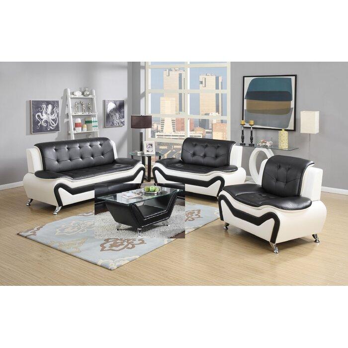 Aurelia 4 Piece Leather Standard Living Room Set