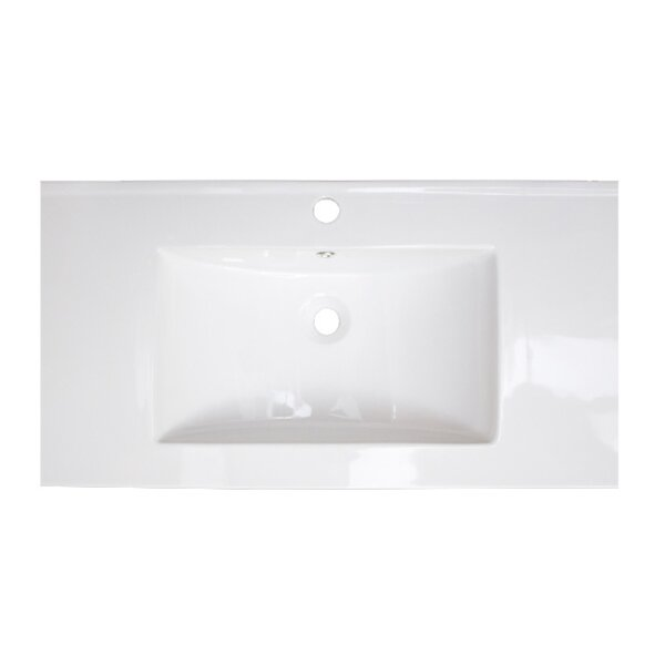 Flair Ceramic Rectangular Drop-In Bathroom Sink with Overflow by American Imaginations