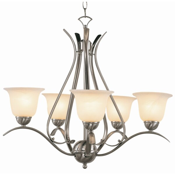 Contemporary 5-Light Shaded Chandelier by TransGlobe Lighting