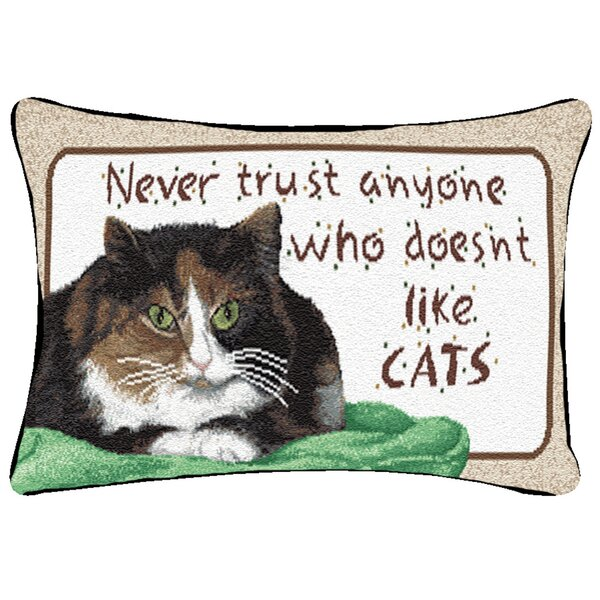 Never Trust Like Cats Word Lumbar Pillow by Manual Woodworkers & Weavers