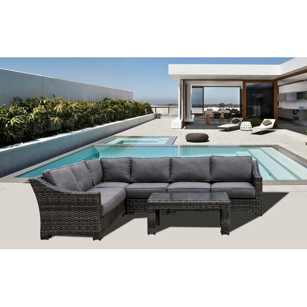 Donley Rattan Sectional Set with Cushions Brayden Studio BRAY6959