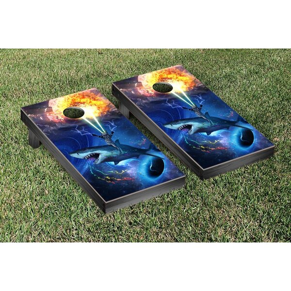 Space Shark and Lazor Cat Blast Cornhole Game Set by Victory Tailgate