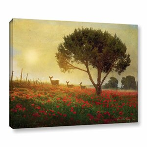 Tree Poppies Deer Painting Print on Wrapped Canvas by Charlton Home