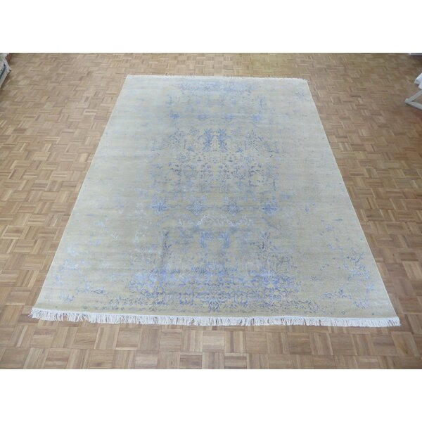 One-of-a-Kind Josephson Modern Abstract Hand-Knotted Wool Ivory/Silver Area Rug by Canora Grey