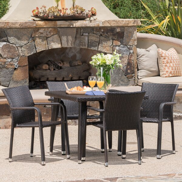 Georgene Outdoor Wicker 5 Piece Dining Set by Ivy Bronx