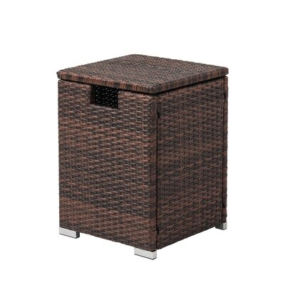 COSIEST Storage Wicker Rattan Propane Tank Table  Color: Black Walnut