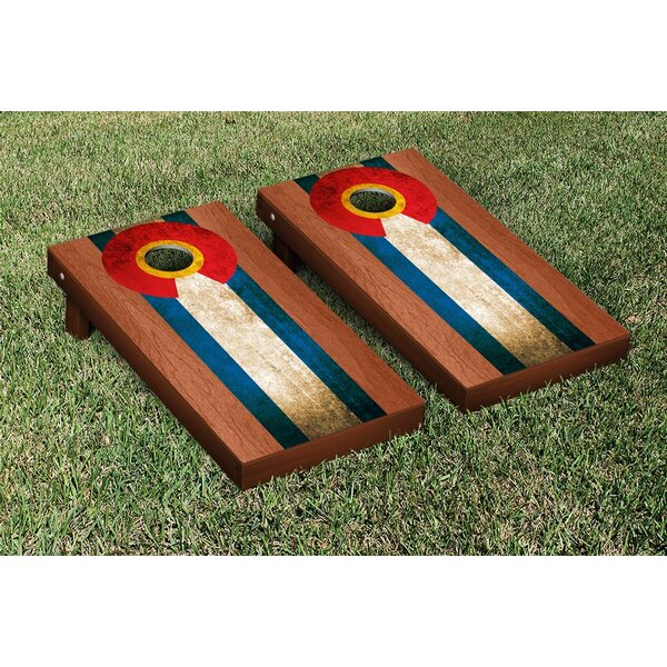 Rosewood Stained Stripe Version Cornhole Game Set by Victory Tailgate