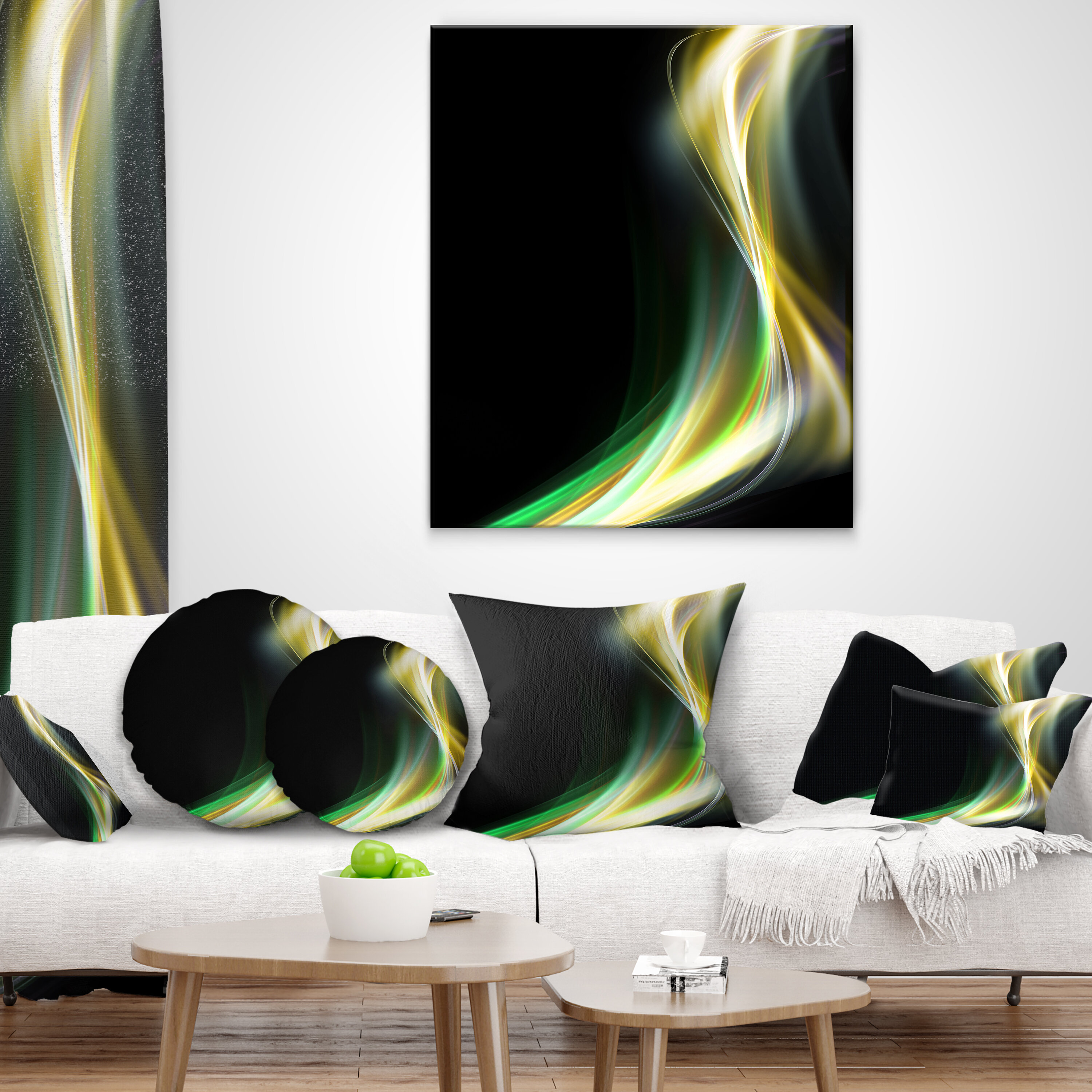 East Urban Home Designart Green Yellow Light Art Abstract Throw