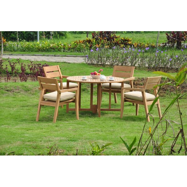 Rhine Luxurious 5 Piece Teak Dining Set by Rosecliff Heights