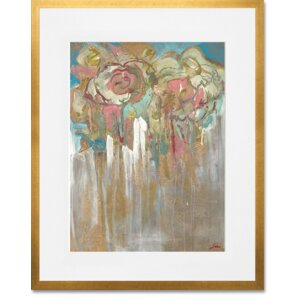 Flowers with Gold by Siri Selle Framed Painting Print in Blue by GreenBox Art